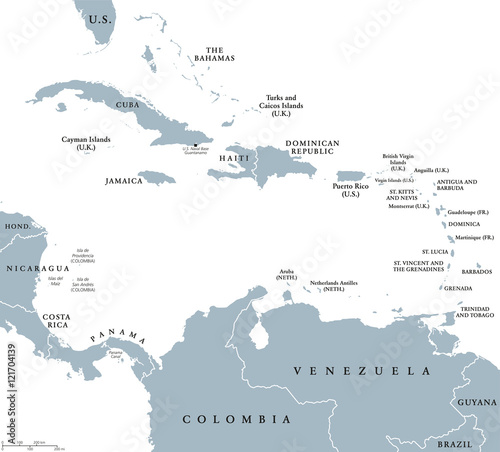 Caribbean Sea South America Map.The Caribbean Countries Political Map With National Borders The