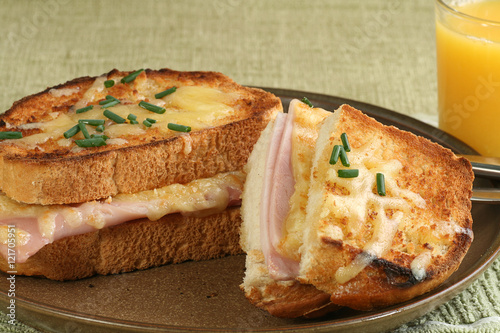sliced croque monsieur