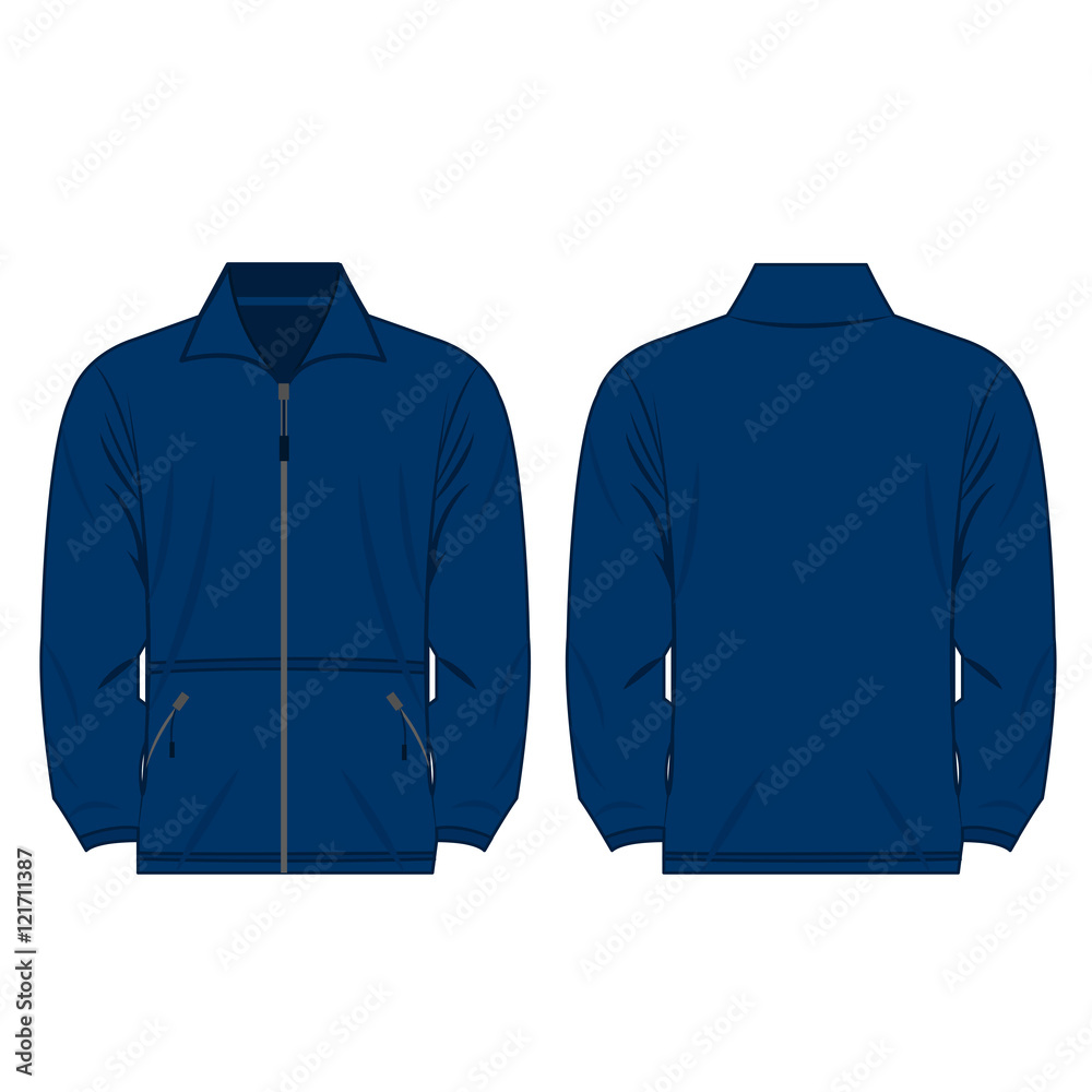Fototapeta Blue color fleece outdoor jacket isolated vector on the white background