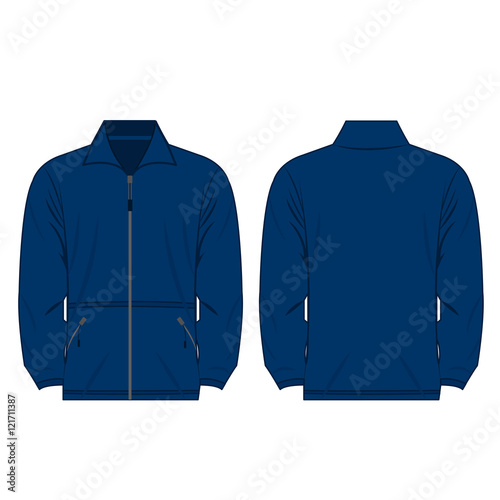 Blue color fleece outdoor jacket isolated vector on the white background Wall mural