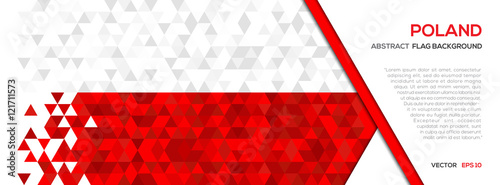 Abstract polygon Geometric Shape background.Poland flag