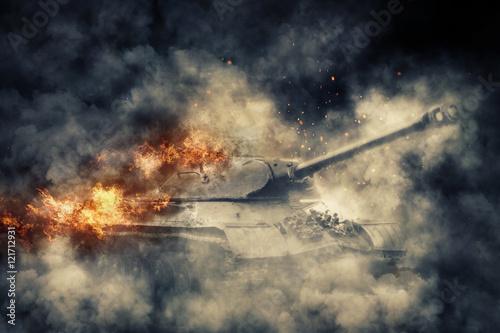 plonacy-czolg-w-klebach-dymu