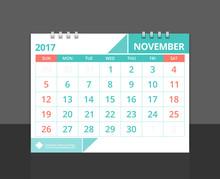 "Desk Calendar 2017 November Design Layout Template Vector For Corporate Business Week Start On Sunday. Size 8""x 6"" Horizontal. EPS-10."