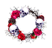 Wreath - Skulls, Red Roses, Branches. Watercolor Halloween Grunge Border