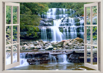 Fototapeta Do salonu Open window view to waterfall