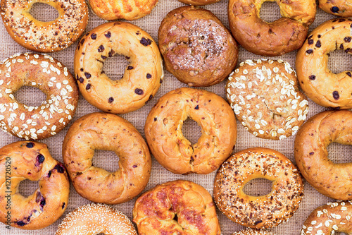 Assorted bagels in a full frame background