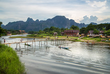 Nam Song River At Vang Vieng, ...