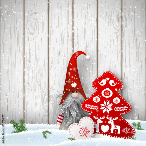 Scandinavian Christmas Traditional Gnome, Tomte With Other
