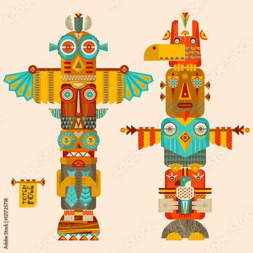 Multi-colored totem poles. Wall mural