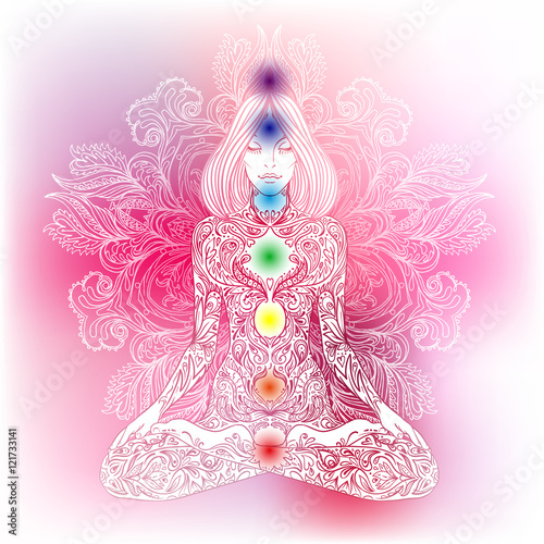 Woman ornate silhouette sitting in lotus pose. Meditation, aura Wallpaper Mural