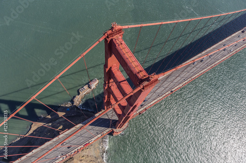 Poster Luchtfoto Aerial View of the Golden Gate Bridge Suspension Tower and Cable