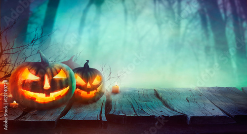Foto auf AluDibond Blau türkis Halloween design with pumpkins
