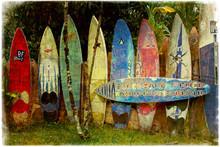 Maui Surfboard Fence Aged Postcard