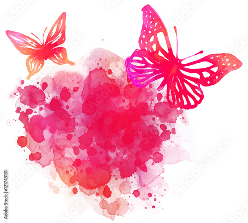 Garden Poster Butterflies in Grunge Amazing watercolor background with butterfly