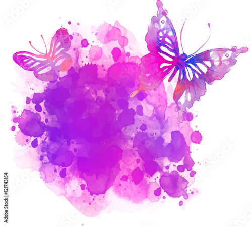 In de dag Vlinders in Grunge Amazing watercolor background with butterfly