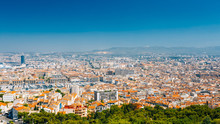 Urban Panorama, Aerial View, Cityscape Of Marseille, France.