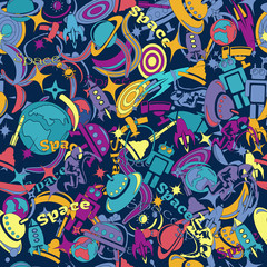 pattern hand-drawn doodles on the subject of space style theme seamless pattern. Vector background