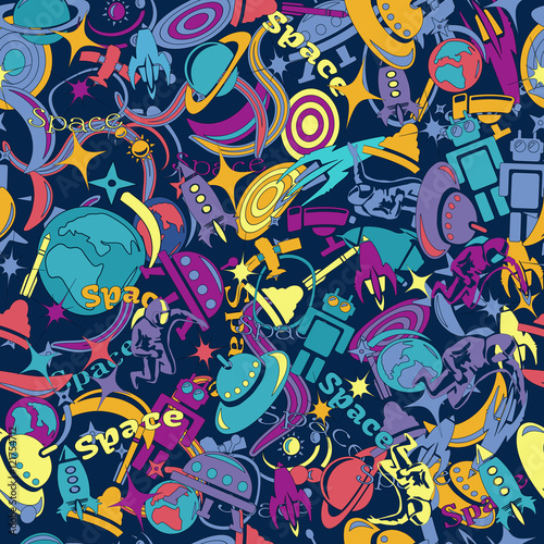 Spoed Foto op Canvas Graffiti pattern hand-drawn doodles on the subject of space style theme seamless pattern. Vector background