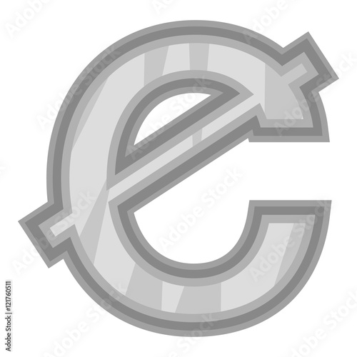 Sign Of Money Ghanaian Cedi Icon In Black Monochrome Style Isolated