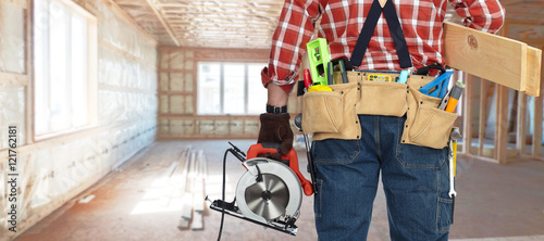 Poster South America Country Builder handyman with electric saw.