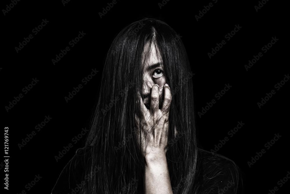 Fotografie, Obraz Halloween theme:Ghost Girl Horror isolated on