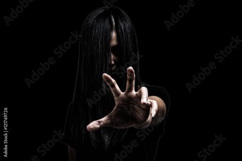 Fotografia  Halloween theme:Ghost Girl Horror isolated on black background