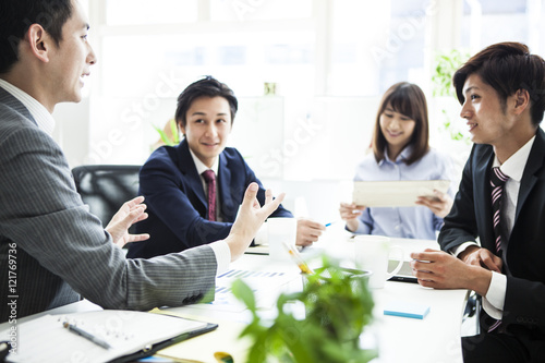 Businessman is talking on the gesture