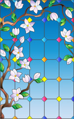 Obraz na Plexi Florystyczny Illustration in stained glass style with abstract cherry blossoms against the sky