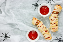 Homemade Sausage Mummies With Ketchup, Halloween Funny Food Recipe