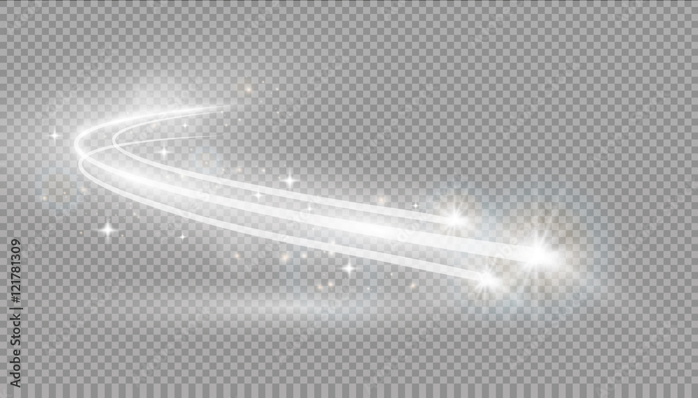 Fototapety, obrazy: Abstract vector magic glow star light effect with neon blur curved lines. Sparkling dust star trail with bokeh.
