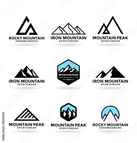 Mountains. Logo design elements (9) Wall mural