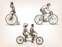 Vintage Bicycles Sketch Vector Illustration