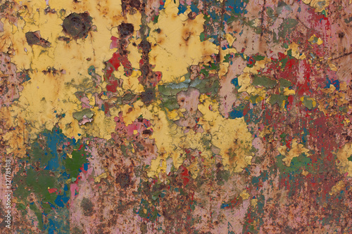 Fototapety, obrazy: Rusty, with multi-colored peeling paint background