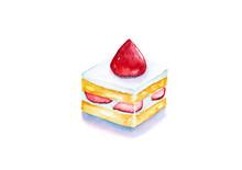 Strawberry Short Cake, Watercolor