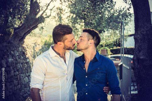 Fotografie, Obraz  Stylish handsome men walking on sidewalk and kissing