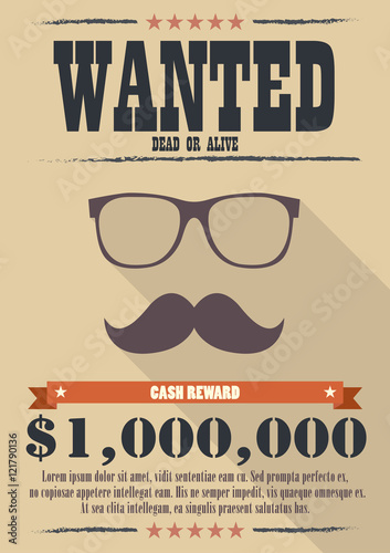 Photo  Most wanted man with mustache and glasses poster