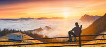 Man Enjoy Sunrise In A Carpath...