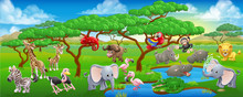 Cute Cartoon Safari Animal Sce...