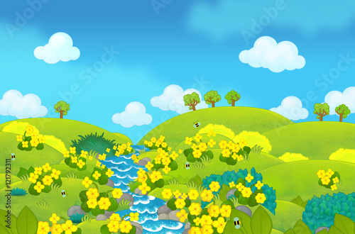 Cartoon beautiful scene of spring or summer meadow - illustration for children