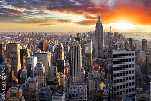 New York skyline at sunset, USA.
