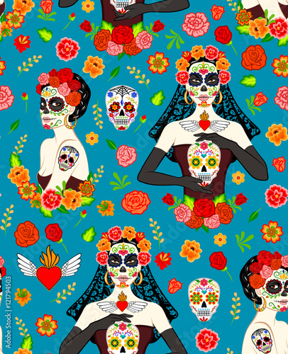 Cotton fabric Women Dia Los Muertos