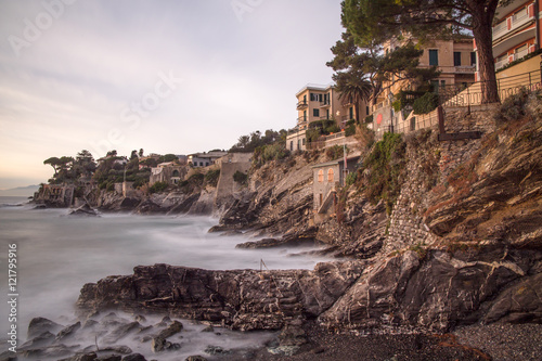 Photographie  Calm waters with long exposure in the village of Bogliasco, Genoa, Italy, Europe