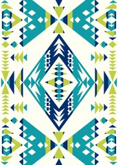 Seamless Ethnic pattern textures. Lime & Navy colors. Navajo geometric print. Rustic decorative ornament. Abstract geometric pattern. Native American pattern. Ornament for the design of clothing