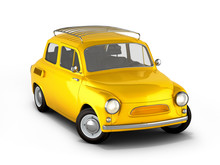 Small Yellow Retro Car Isolated On White Background 3d