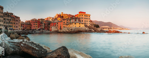 Sunset in Boccadasse bay, Italy, Genoa panorame image Wallpaper Mural