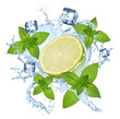 canvas print picture lime lemon water splash with ice cubes isolated on white background