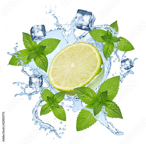 lime lemon water splash with ice cubes isolated on white background