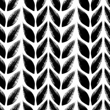 Knitted, Tress Or Wheat Ears Seamless Pattern.