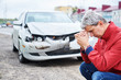 upset man after wreck car crash