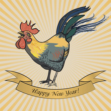 Rooster Postcard Happy New Year